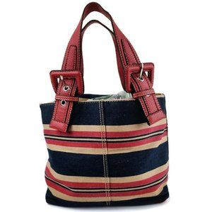 Tommy Hilfiger Red, Blue & Tan striped Handbag
